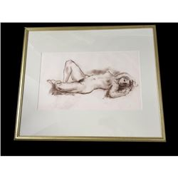 c1970 Roman Chatov, Nude Charcoal Drawing