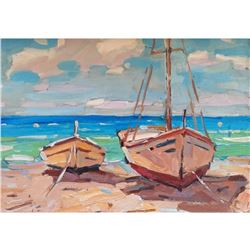 Yacht seascape realism original oil painting colorful art summer barcas seaside