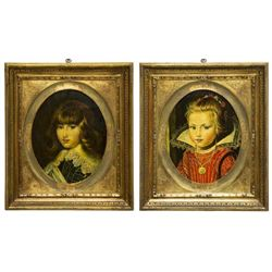 (2) Gilt Framed Hand-embellished Portrait Prints
