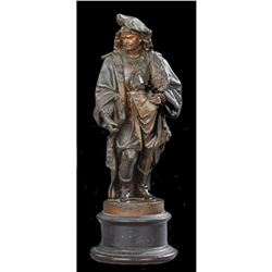 Late 19thc Patinated Statue of Rembrandt