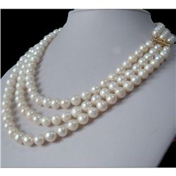 "3 Row Strands Natural 9-8mm Akoya White Pearl Necklace 18""19""20"" 14k Gold Clasp"