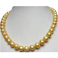 """Huge Natural South Sea 11 Mm Golden Pearl Necklace 18"""" 14k Gold Clasp"""