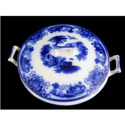 c1900 Shanghai Flow Blue China Covered Bowl