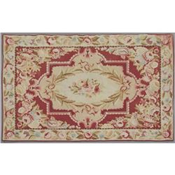 Aubusson Style Needlepoint Carpet, with floral decoration, 3' 9 x 5' 10.