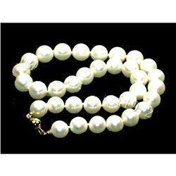 14k Gold Clasp 10-11mm White South Sea Round Pearl Necklace 18 Inch