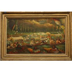 Signed Oil on Tin Painting, Bank Holiday