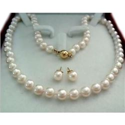 8-9mm White Akoya Pearl 14kt Gold Necklace & Earrings Set