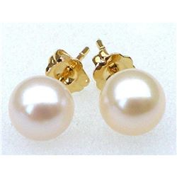 Pair Of Aaa++ Round 6.5mm White Akoya Pearls Earring