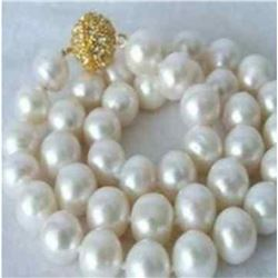 "Genuine 9-10MM Natural White Akoya Cultured Pearl Necklace 18"" AAA+5"