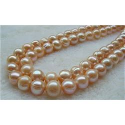 """Large 11-13mm Pink South Sea Pearls 14kt Gold 35"""" Necklace"""