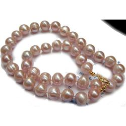 """11-12mm Natural Pink South Sea Pearls 14kt Gold 18"""" Necklace"""