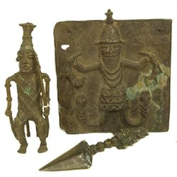 Mixed Lot Of Antique Bronze African Pieces