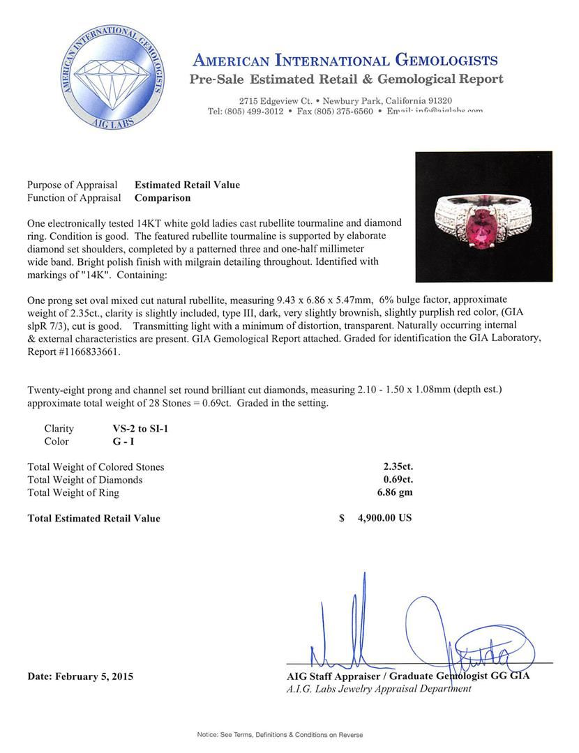 Image 5 14kt White Gold Gia Certified 2 35 Ctw Tourmaline And Diamond Ring
