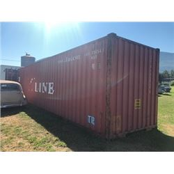 RED 40 FT SHIPPING CONTAINER WITH ASSORTED PARTS SHELVING
