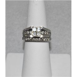 ***SPECTACULAR*** LOOKS 3 CARAT+ WHITE DIAMONDS OVER WHITE GOLD WEDDING SET SIZE 6