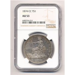 ***SUPER RARE*** 1874-CC CARSON CITY TRADE SILVER DOLLAR NGC AU 53