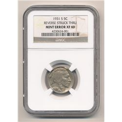 ***SUPER RARE MINT ERROR*** 1931-S BUFFALO NICKEL NGC XF-40 REVERSE STRUCK THR