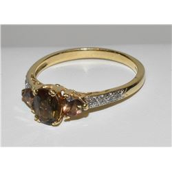 Yellow Gold 14k Topaz 3-stone diamond ring
