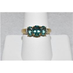 Round Blue Topaz and Diamond Solid 14k Yellow Gold 3-stone ring