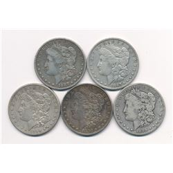 MANDY SILVER DOLLAR SPECIAL --- (5) OLD MORGAN SILVER DOLLARS