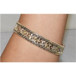 "Fresh Look Sterling Silver 8"" Tri-colored bracelet with tongue and groove clasp"