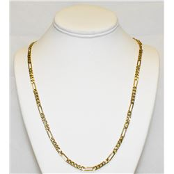 "Heavy 14k Yellow Gold 4MM Figaro Chain 24"" Necklace"