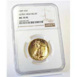 PERFECT 70 PROOF-LIKE ULTRA HIGH RELIEF 2009 AMERICAN GOLD EAGLE $20 NGC MS 70 PL