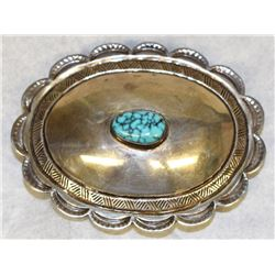 NATIVE AMERICAN SIGNED, STAMPED AND HAND CRAFTED SILVER/TURQUOISE BELT BUCKLE