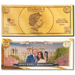 VERY RARE PMG 70 GEM UNC COMMEMORATIVE PRINCE HARRY & MEGHAN MARKLE 24K GOLD NOTES