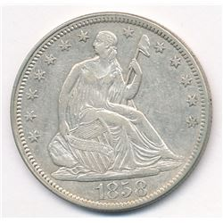 1858 seated half dollar AU58 condition