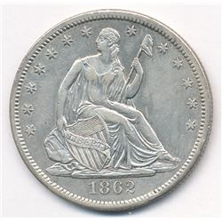 Rare date 1862-S seated Liberty half dollar AU58