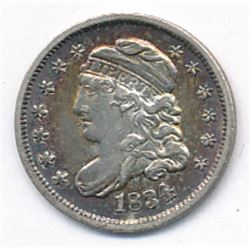 1834 HALF DIME with BULLSEYE RAINBOW COLOR, AU58 condition Capped Bust half dime.