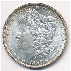1887 Morgan Silver Dollar (MS64 condition) with beautiful light rim toning