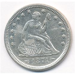 1874 Arrows Seated Quarter, Au58 condition...stunning!
