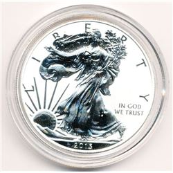2013 WEST POINT AMERICAN EAGLE 1 OZ FINE REVERSE PROOF SILVER DOLLAR IN CAPSULE