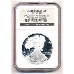 2006-W SILVER EAGLE 20TH ANNIVERSARY NGC PROOF 69 ULTRA CAMEO FROM SILVER DOLLAR SET