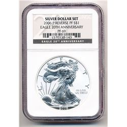 2006-P SILVER EAGLE 20TH ANNIVERSARY NGC REVERSE PROOF 69 FROM SILVER DOLLAR SET