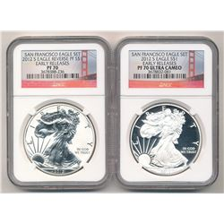 2012-S TWO-COIN SET 75TH ANNIVERSARY SILVER EAGLE NGC PF 70