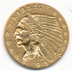 1913 $2.5 INDIAN HEAD GOLD ALMOST MINT