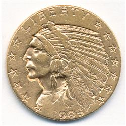 "1909-D $5 INDIAN HEAD GOLD RARE WEAK ""D"" ALMOST MINT"