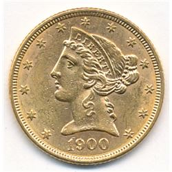 1900 $5 GOLD LIBERTY HEAD BU