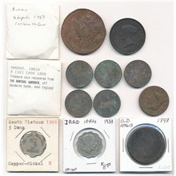 MIXED LOT OF FOREIGN COINS RUSSIA, INDIA, VIETNAM, IRAQ, GREAT BRITAIN