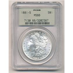 1881-S PCGS MS66 S$1 Morgan Silver Dollar Green Holder Beautiful Color