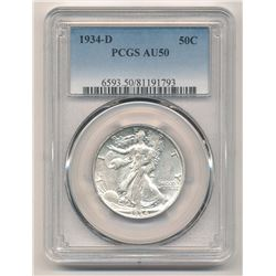 ONE OF THE VERY RAREST 1934-D PCGS AU50