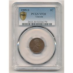 (RARE) 1909-S PCGS VF20 Lincoln Cent