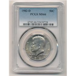 1982-D KENNEDY UNCIRCULATED HALF DOLLAR PCGS MS 66
