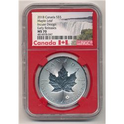 2018 CANADA $5 SILVER MAPLE LEAF INCUSE DESIGN NGC MS 70 EARLY RELEASES