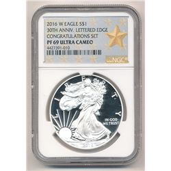 2106-W SILVER EAGLE 30TH ANNIVERSARY LETTERED EDGE CONGRATULATIONS SET NGC PF 69 ULTRA CAMEO