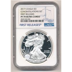 2017-S PROOF SILVER EAGLE CONGRATULATIONS SET NGC PF 70 ULTRA CAMEO FIRST RELEASES