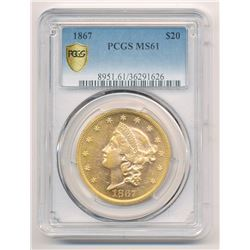 ***RARE*** 1867 $20.00 GOLD LIBERTY HEAD PCGS MS 61 LOOKS PROOF-LIKE!!